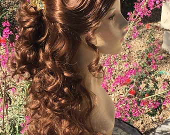 Belle Beauty and Beast Park Style Gold Ballroom wig