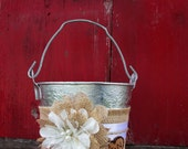 Personalized Wedding Bucket - Burlap and Lace Flower Girl Basket - Rustic Flower Girl Basket - Wedding Basket - Flower Bucket -Wedding Pail