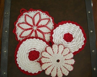 Vintage Crochet Pot Holders Trivets Red and White