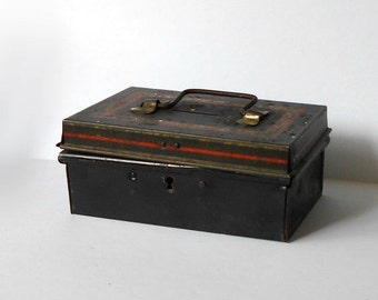 Vintage Metal Cash Box Small Bank with handle