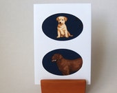 """LABRADOR fabric in cutout Double Oval shape Linen Textured Card.  6"""" x 4"""" with envelope. Blank card.  Chocolate Labrador Dog card ."""
