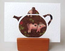 """TEAPOT Card Pink PIG Fabric 6"""" x 4"""" with envelope. Blank for any occasion. Piglet in textured white card. Pig greeting card"""