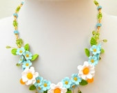 Flower Necklace, Wedding Necklace, Forget Me Not, Daisy Jewelry, Statement Necklace, Flower Jewelry, Romantic Necklace, Handmade Necklace