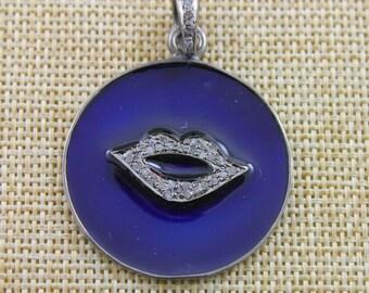Pave Diamond Pendant, Pave Enamel Blue Lips Pendant, Diamond Lips Charm, Diamond Lips Necklace, Pave Connector,Oxidized Silver.(DCH/PDT/930)
