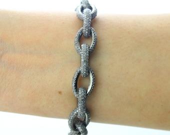 Pave Diamond Bracelet, Diamond Bracelet, Pave Bracelet, Pave Link Bracelet, Pave Oval Bracelet, Pave Art-Deco, Oxidized Silver. (BRAC-006)