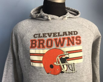 80s Vintage Cleveland Browns hooded Sweatshirt - LARGE