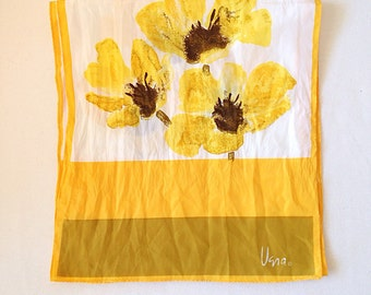 Vintage Vera Neumann Long Scarf with Pretty Yellow Flowers Black Eyed Susans