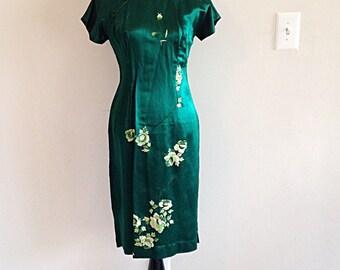 Vintage Emerald Green Satin Cheongsam Chinese Dress Extra Small 1960s