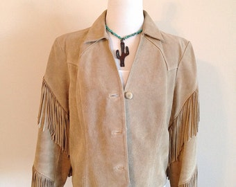 Vintage Suede Western Southwest Hippie Boho Fringe Jacket Ladies Size Medium 6 or 8
