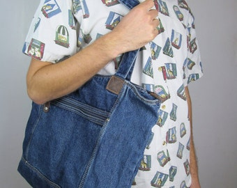 90s Denim Hot Mom Shoulder Bag Oversized Blue Jean Vintage Computer School Statchel Purse Tote