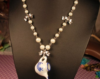 Lolita Tea Pot Necklace with Bronze Bows and White Pearls