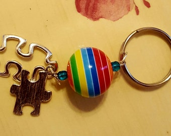 KEYCHAIN: Beautiful Autism Awareness Keychain with Puzzle Charms