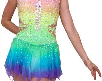 Figure Skating Dress / Baton Twirling / Roller Skating Dress / Dance Dress - Rainbow Butterfly