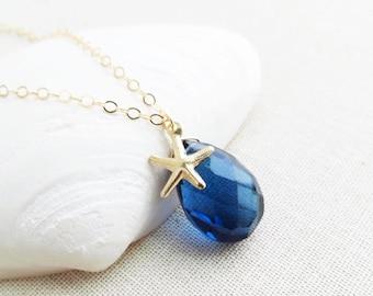 London Blue Quartz Gemstone Necklace, Navy Blue Gold Necklace, Blue Gemstone Pendant,  Blue Stone Necklace Pendant, Blue Stone Gold Pendant