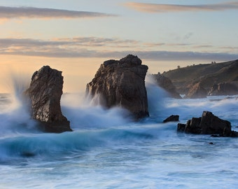 Big Sur Photography, California Beach Photo, Seascape Print, Large Art, Coastal Decor Pacific Ocean Artwork Oversized Print Blue Teal Orange