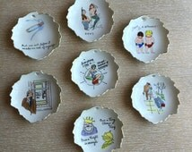 7 Kitschy Risque Vintage Novelty Ashtrays/Trinket Dishes/Wall Hangings