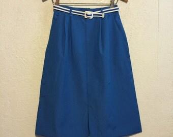 1980s Bright Blue High Waist Belted Skirt