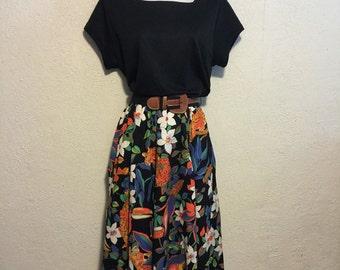 Vintage Jungle Print Skirt 1980s Dress & Belt
