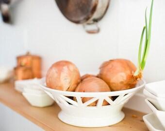 BACK ORDER - Structured Ivory Fruit Bowl