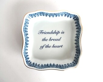 Vintage Friendship Trinket Dish / Square Plate - Andrea by Sadek