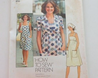 """7292 Simplicity Size 12 Bust 34"""" Miss How To Sew Pattern Vintage 1975 Uncut Dress Unlined Jacket Scarf"""