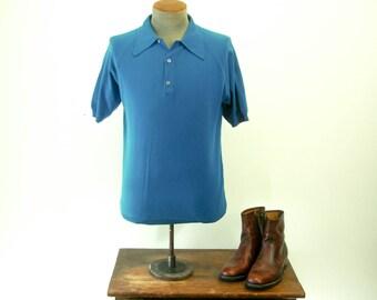 1960s Mens Ban-Lon Shirt Vintage Knit Acrylic Short Sleeve Blue Mad Men Era Pullover Shirt - Size MEDIUM