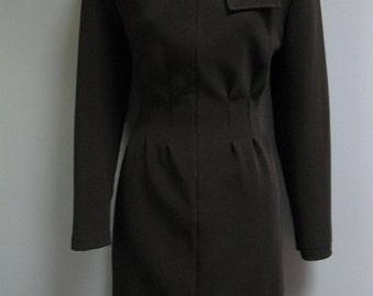 Vintage 1980's Black Dress LBD Zipper Dress