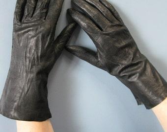 Vintage Black Leather Gloves Ladies Kid Leather Driving Gloves