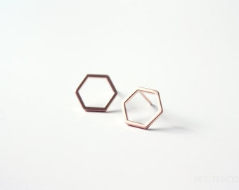 rose gold hexagon studs - dainty, minimalist modern jewelry, gift for her