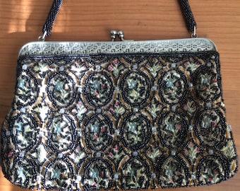 Black Beaded Floral Handbag