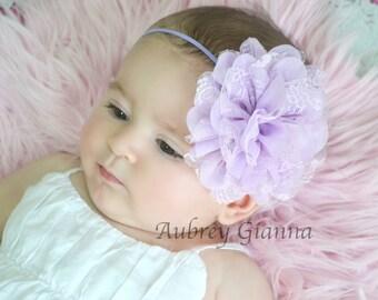 Newborn headband, Lavender flower headband, Baby headband, Infant Headbands - Baby Girl Headbands - Baby Hair Accessories -