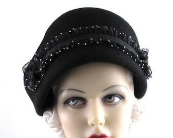 Womens Hat Black Cashmere Handmade Hat Church Bride Cloche Ascot Derby Races Flapper Wedding Hat Lace Art Deco Custom Made for Each Client