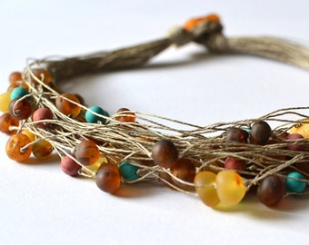 Natural Amber, turquoise and Coral Necklace Raw Stone Linen Jewelry Colorful Summer Inspired Necklace