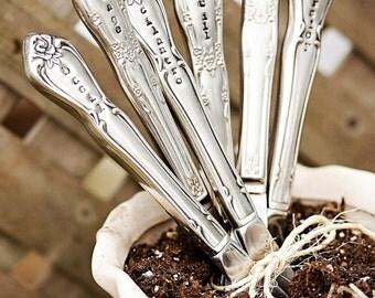 Garden Marker- Herb Marker, Shabby Chic, Vintage, Hand Stamped, Plant Marker, Silver Plated, Garden Gift, Gardener Gift, Mom Gift, Flatware