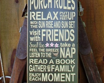 Porch Rules , Porch, Handmade, Subway, Word Art, Wood Sign
