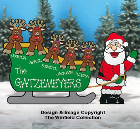 Christmas Carolers Wood Outdoor Yard Art By Chartinisyardart: Christmas Personalized Sleigh With Santa & His By