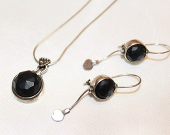 Antique Victorian Vulcanite Set in Sterling Silver Necklace Earring Set SU