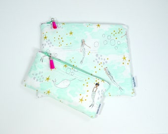 Toiletry bags, wash bags, wet bag, make up bag, zippered pouch, pencil case, diaper clutch, waterproof, bag, kids, children, mermaids, girl