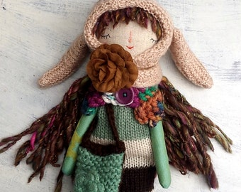 Forest Bunny Doll, Rag Doll, Handmade Doll, Soft Doll, Brown Green Doll, Cloth Art Doll
