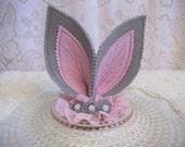 Gray & Pink Felt Bunny Ears Headband, Easter Headband, Costume Ears, Bunny Ears Outfit, Ready to Ship!