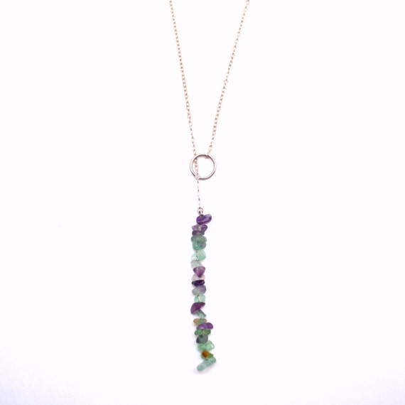 Fluorite Lariat * Silver Necklace * Minimal Boho Jewelry