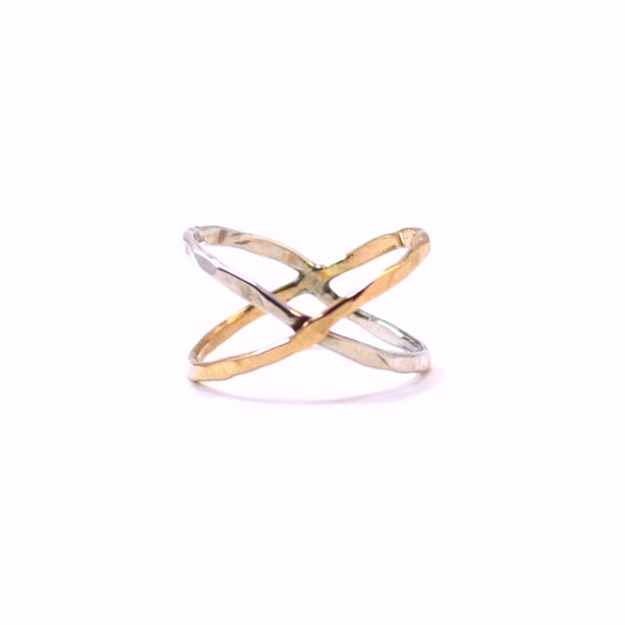 X Ring in Gold + Silver. Hammered Criss Cross Ring. Statement Ring. X Marks the Spot. Gift for Her.