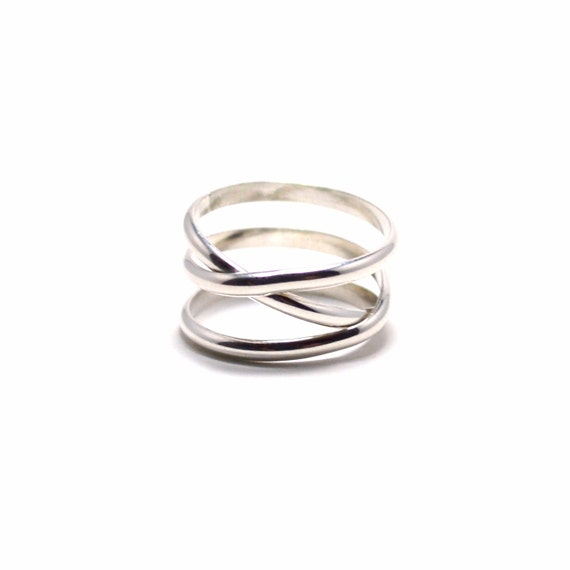 Silver Infinity plus One Ring - Criss Cross Ring - Crossover Ring
