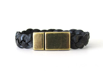 Unisex Black Braided Leather Bracelet with Antiqued Brass Magnetic Clasp - As Seen On Quantico Worn by Aaron Diaz as Leon Velez - UL0617
