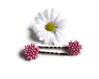 Pink Beaded Hair Grips - Pink Hair Clips - Flower Hair Clips -  Hair Accessories - Flower Girl Hairclips - Pink Hair Pins - Pink Bobby Pins