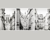 Set of 3 prints, black and white Paris photography architecture prints, city art, extra large wall art set, grey oversized art, 16x20, 24x30