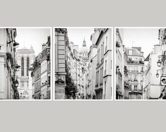 Set of 3 Paris Gallery prints, Paris black and white photography, city architecture art, large wall art set, oversized art, set 16x20, 24x30