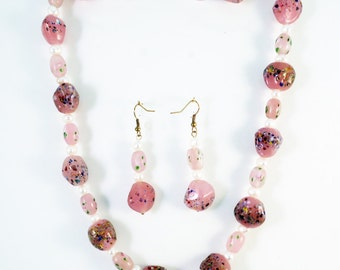 Pink and Pearls Necklace and Earrings-JS027