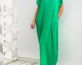 Green Maxi Dress, Caftan, Abaya, Summer Dress, Green Plus-Size Dress, Beach Dress, Beach Cover-Up