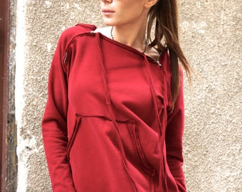 NEW Spring Burgundy  Extravagant  Asymmetric Cotton Sweatshirt /Thumb holes sexy zipper on shoulders / Front Pocket  by AAKASHA A08310